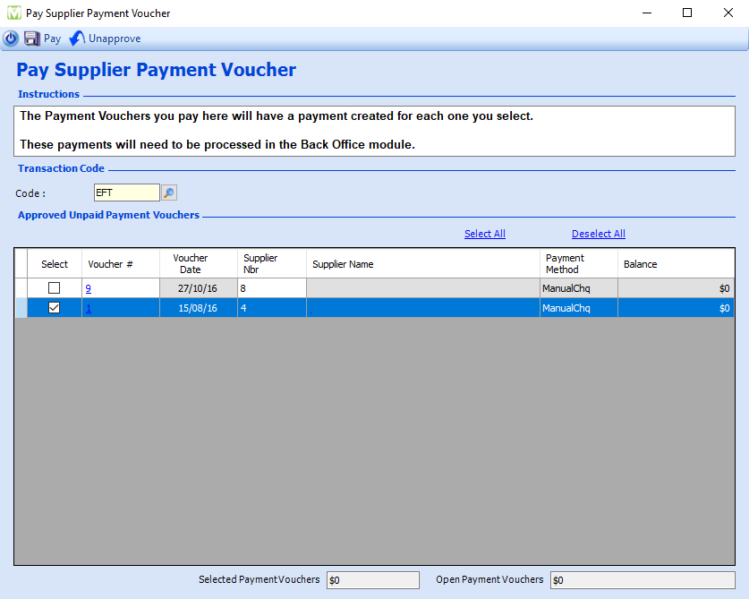 Maxial accounts payable supplier voucher payment
