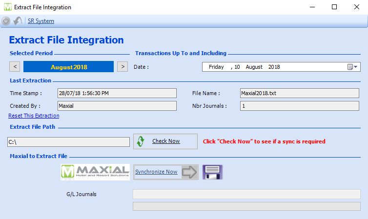 Maxial back office integration showing journal file extraction