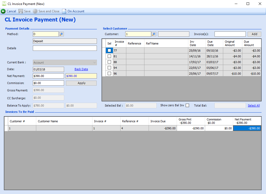 Maxial city ledger payment screen showing invoices to be paid