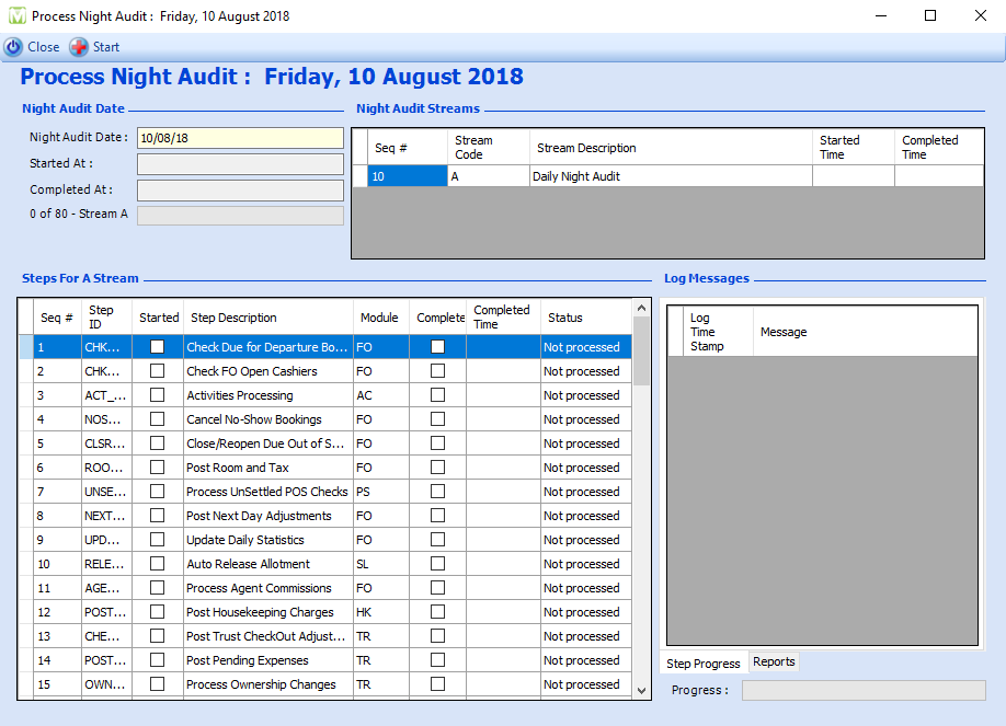 Maxial night audit process showing list of all night audit steps